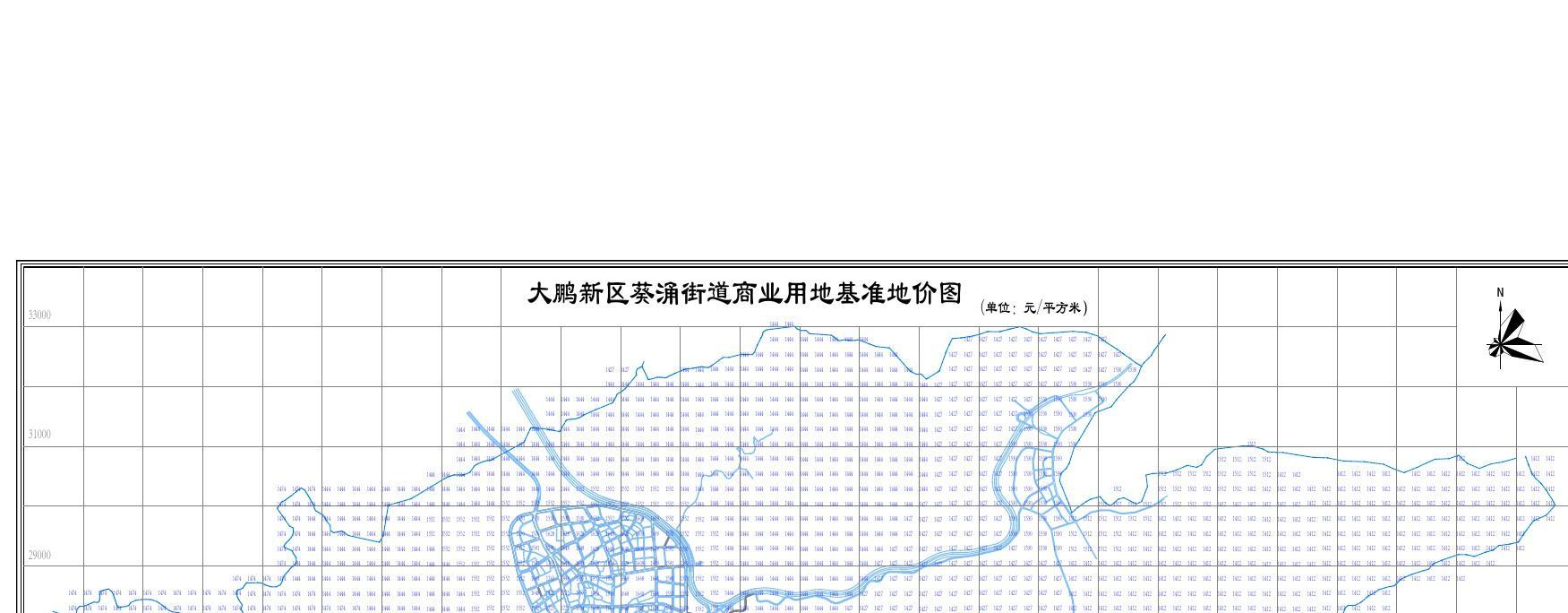 大鹏新区葵涌街道商业用地基准地价图