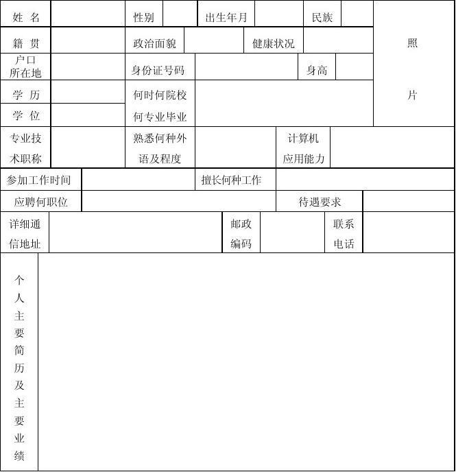 个人简历模板(表格式)图片
