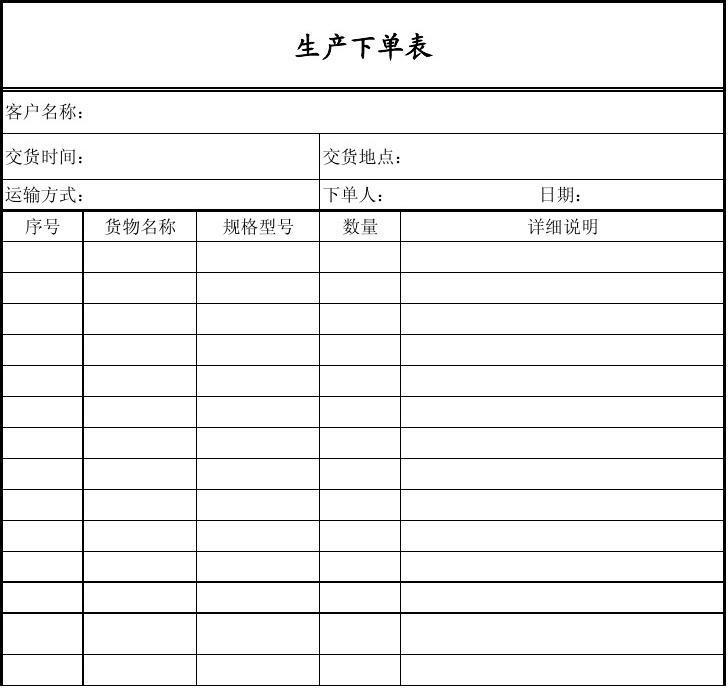 生产下单表