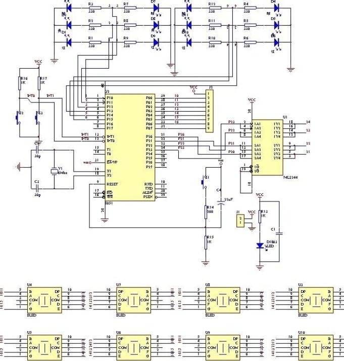 16×16led 点阵显示电路图片