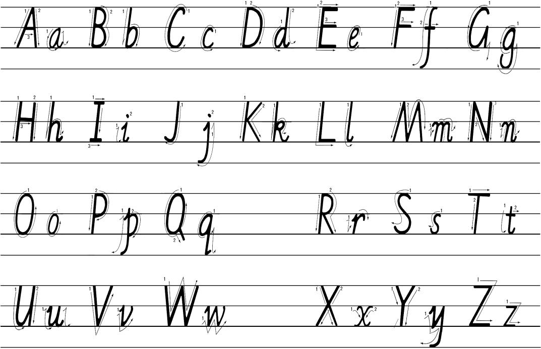 打印26个英文字母大小写(书写顺序)图片