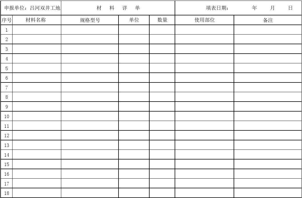 材料计划申请表模板图片