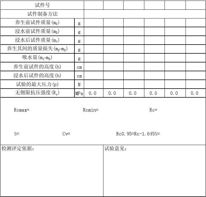 无侧限抗压强度试验报告(记录)