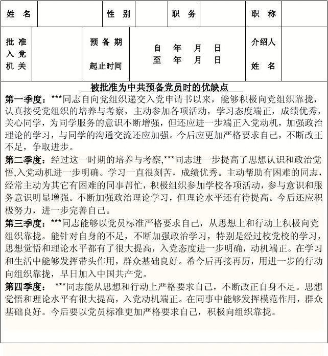 2013预备党员考察写实簿范文