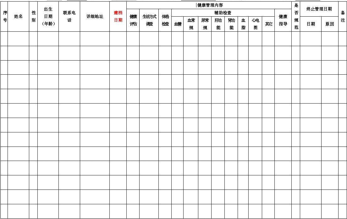 海南省65岁以上老年人健康管理登记表