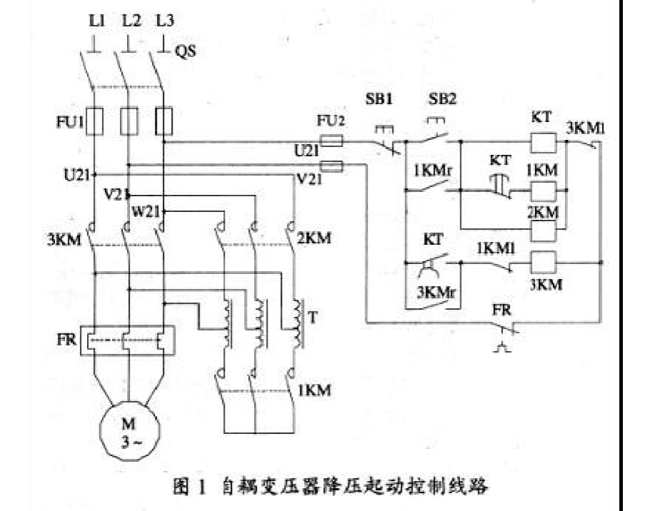 自耦变压器降压启动电路图图片