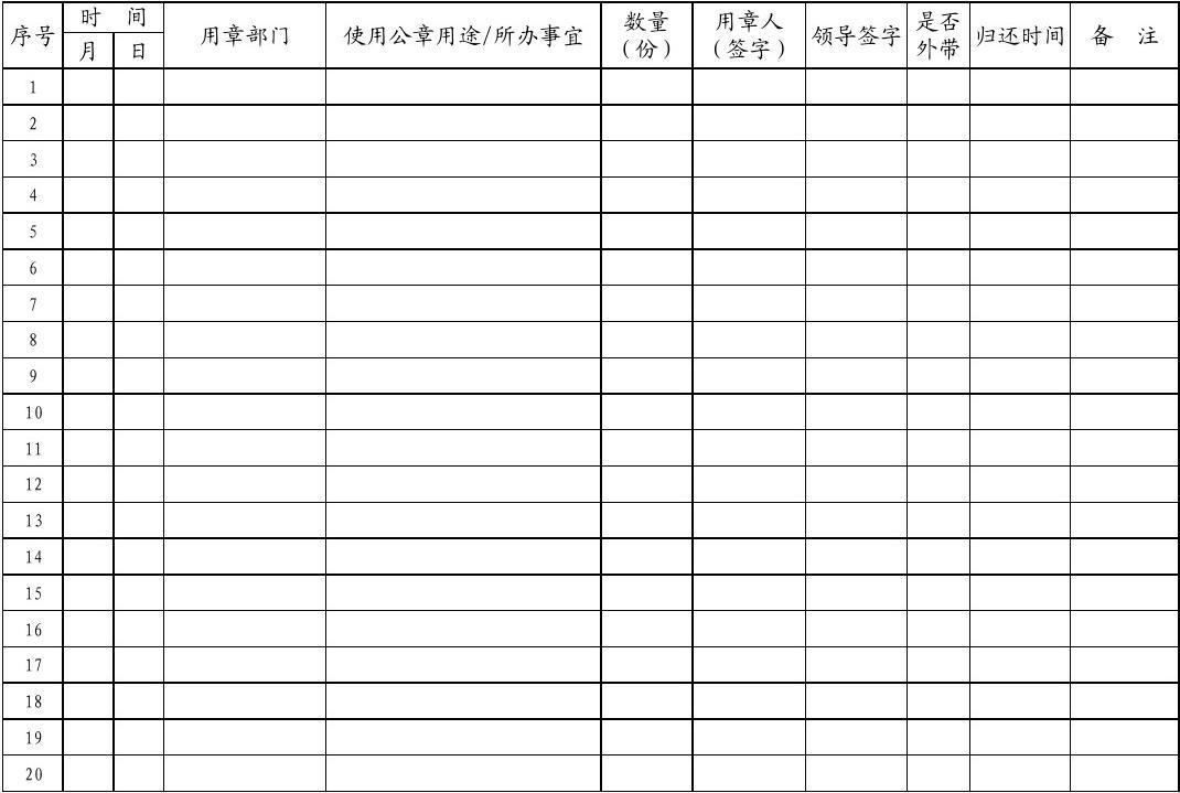 单位公章使用登记表