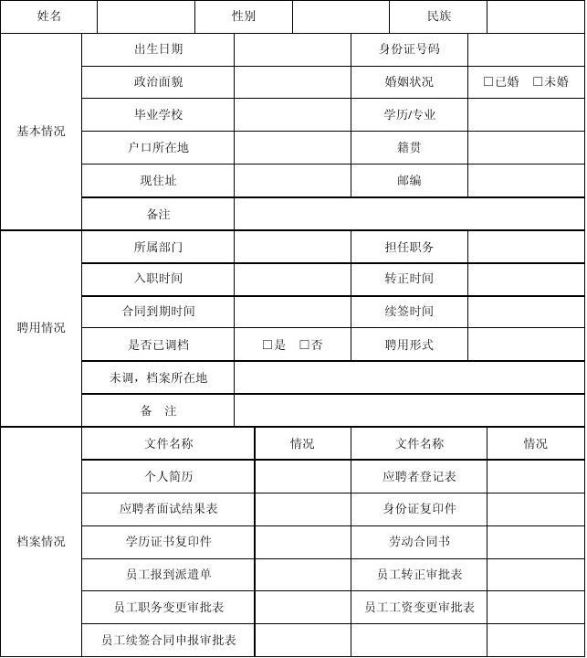 员工档案信息表