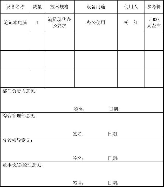管理文件gl-cg-110901 物资采购申请,审批表  计算机相关设备> 编图片