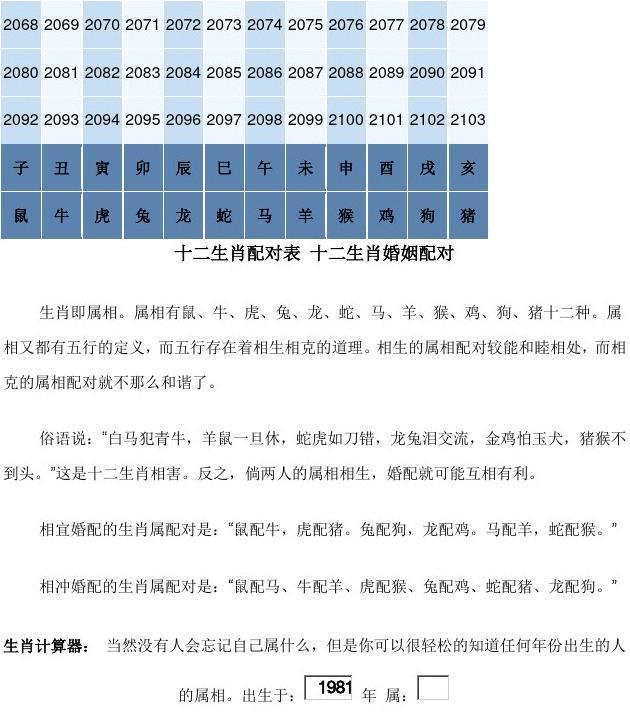 人文社科 哲学/历史 十二生肖对照表 十二生肖纪年对照表  相宜婚配的图片