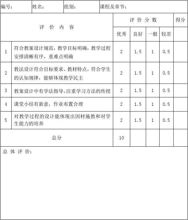 教学技能考核教案评分表图片