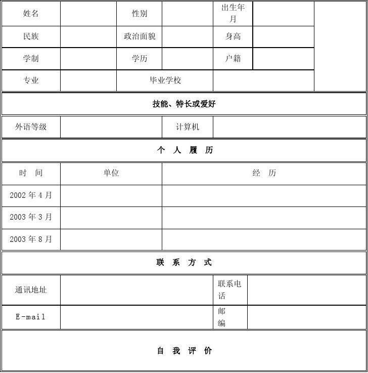 个人简历模板下载_个人简历表格模板_个人简历空白表格1