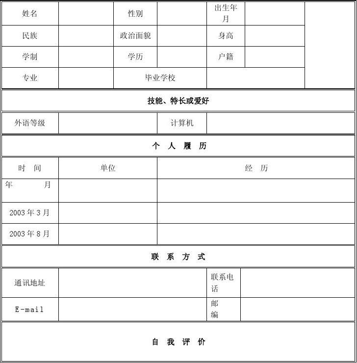 个人简历模板下载_个人(求职)简历空白表格
