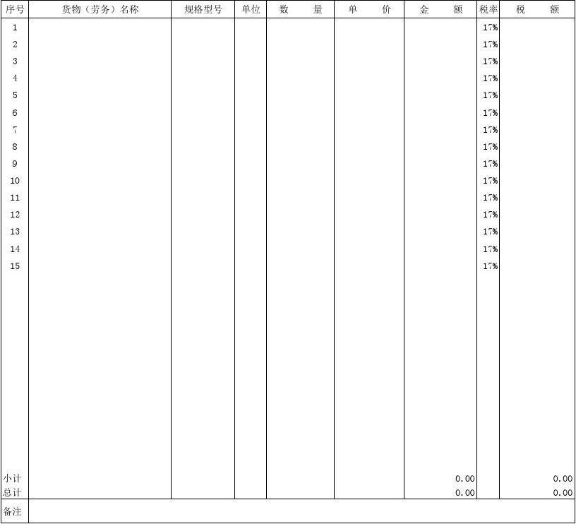 增值税专用发票销货清单模版(新版)