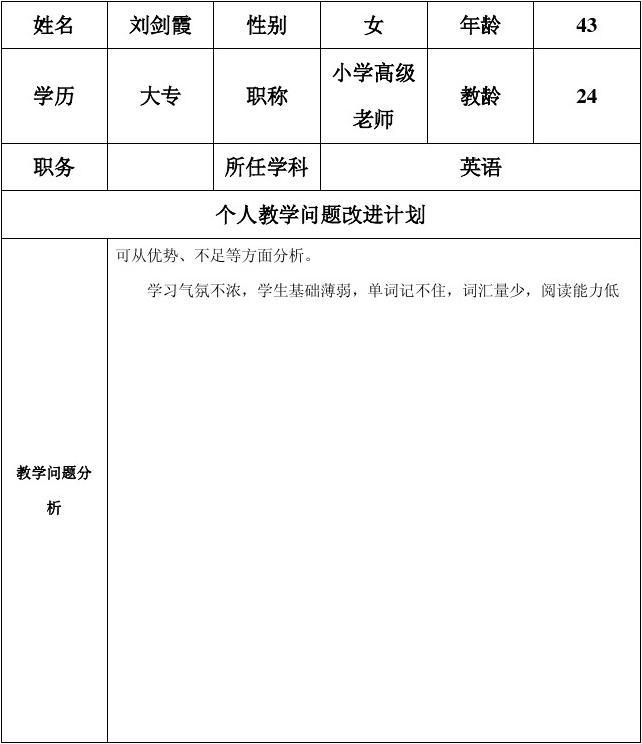 务表单:个人教学问题改进计划模板