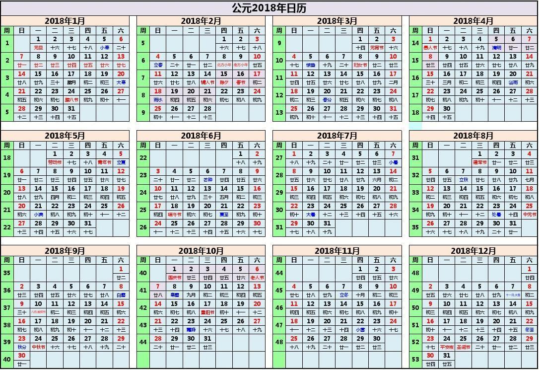 免费文档 所有分类 2018年日历表打印版(a4完美色彩版)可编辑  第1页