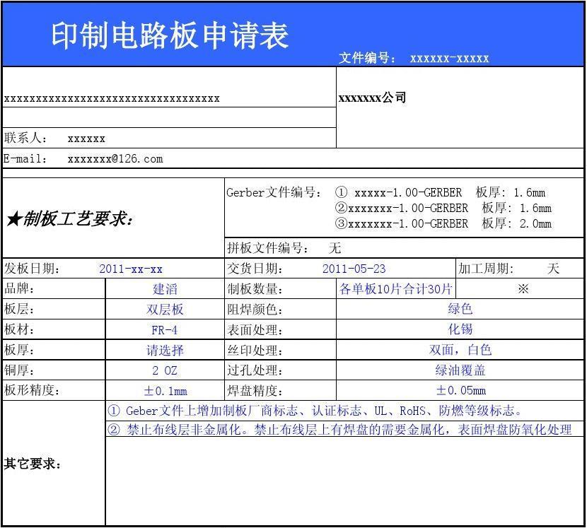 pcb制版工艺_PCB制板申请表 PCB工艺说明表_word文档在线阅读与下载_无忧文档