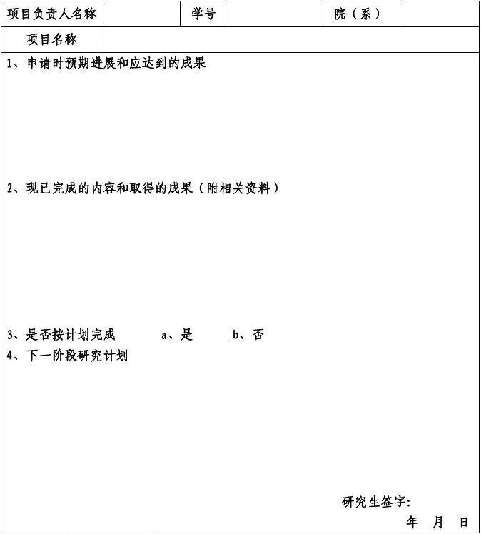 研究生创新基金资助项目中期检查报告书