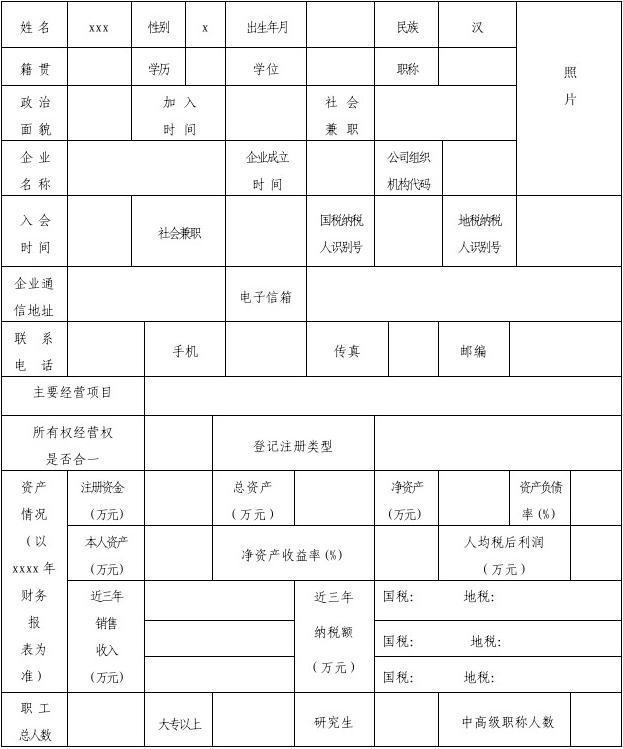 xxx非公有制初中代表信息经济登记表杨村人士图片