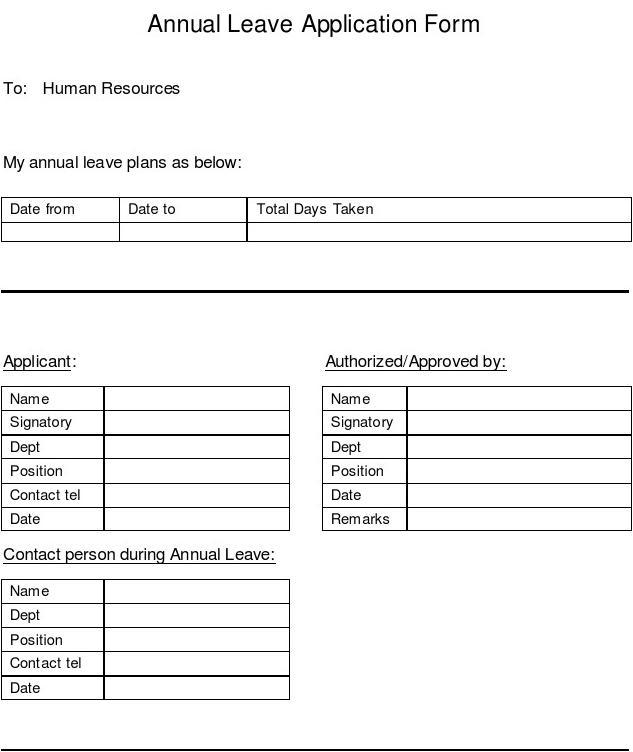 Doc728977 Annual Leave Application Form The Annual Leave – Annual Leave Application Form