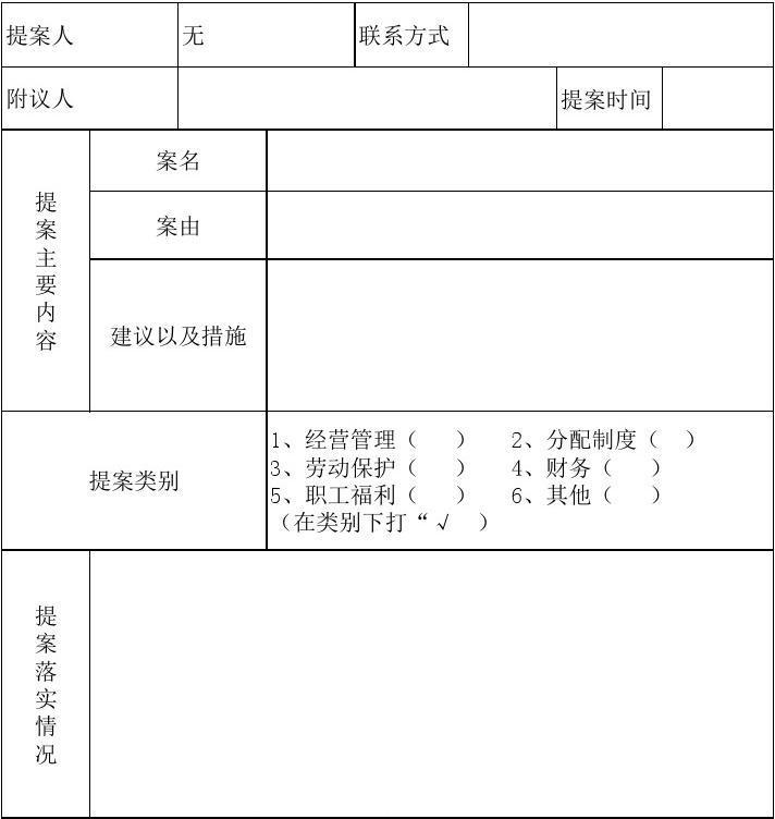 职工代表大会暨工会会员代表大会提案表_wor