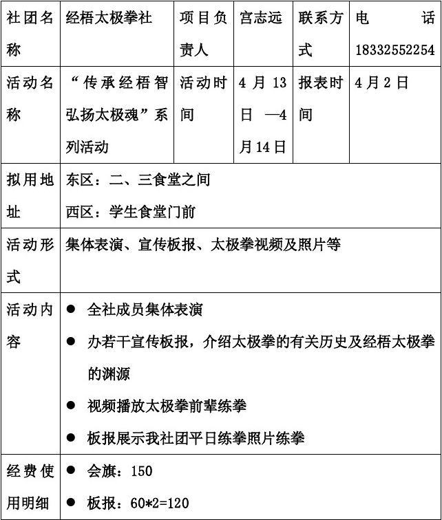 燕山大学经梧太极拳社社团展览月