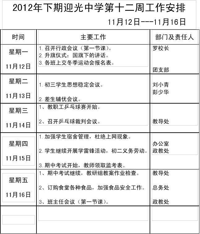 2012年下期迎光中学第十二周工作安排