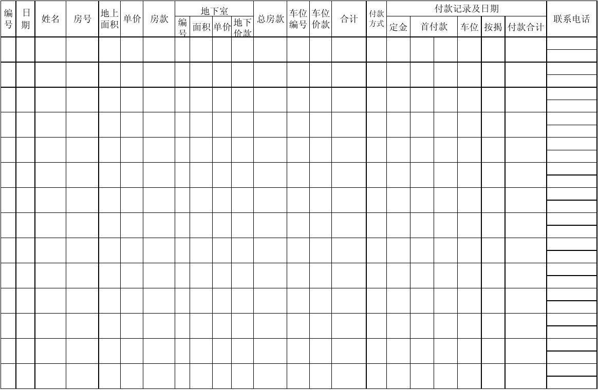 房地产销售台账表格