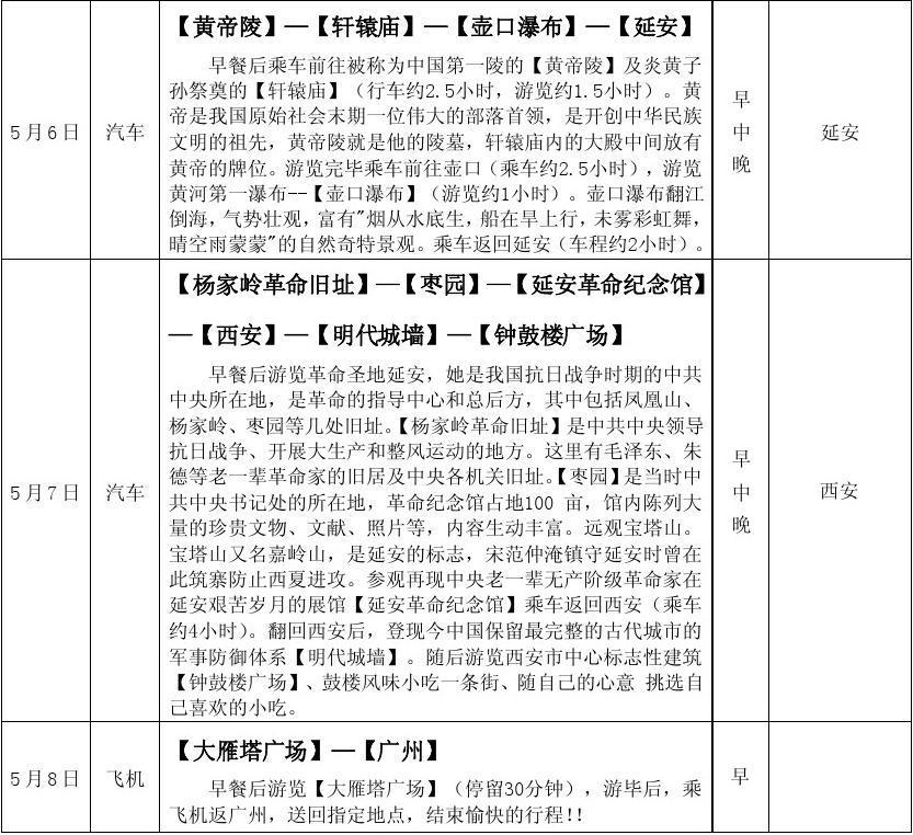 西安旅游安排行程表_word文档在线阅读与下载