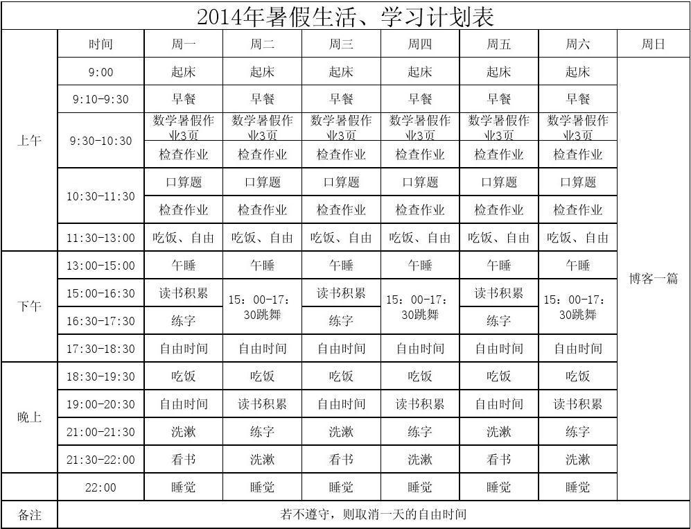 暑假生活、学习计划表(1)