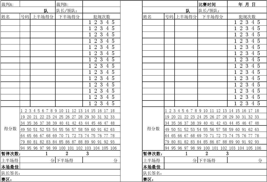 篮球赛技术统计表