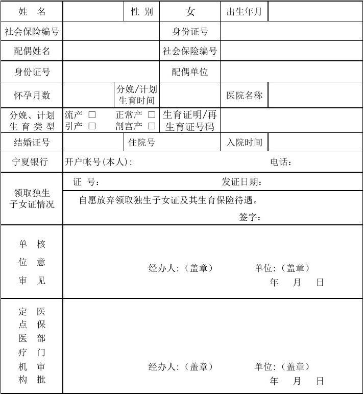 银川市职工生育保险医疗服务审核确认表