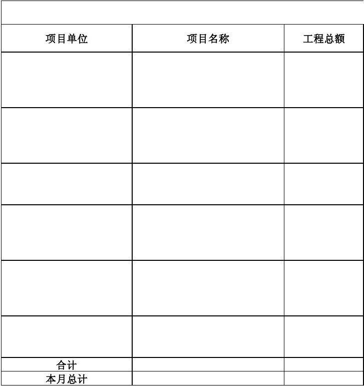 工程项目付款计划表