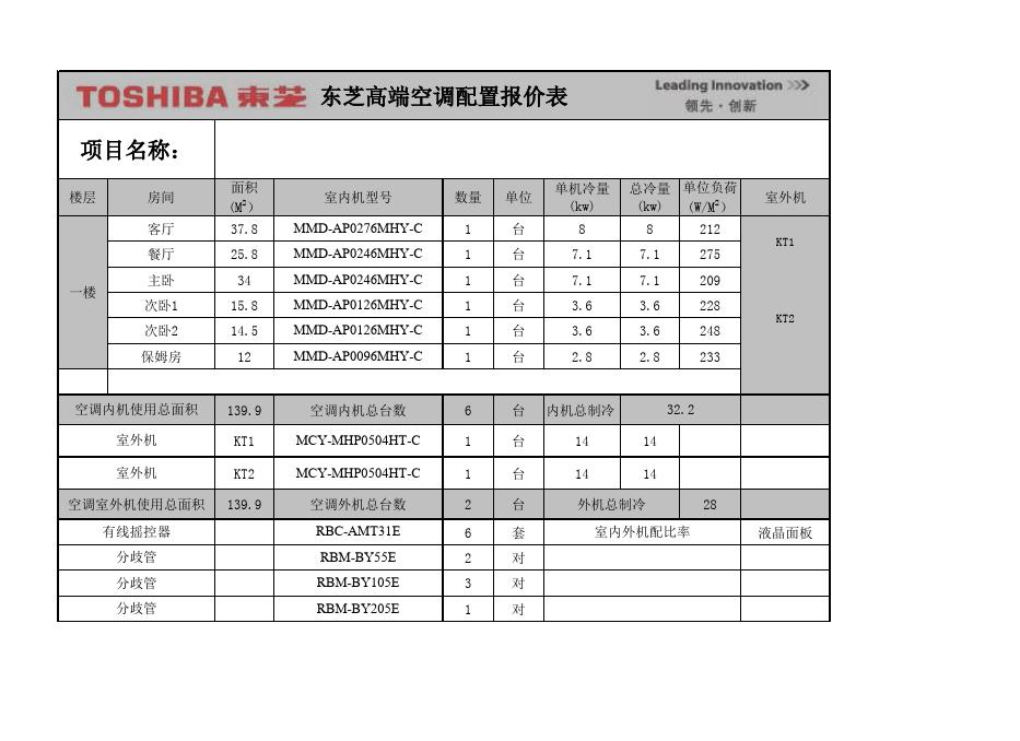 东芝空调配置表