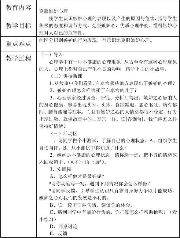 江镇中心教案心理健康复习上册记录表年级教育小学小学六语文图片