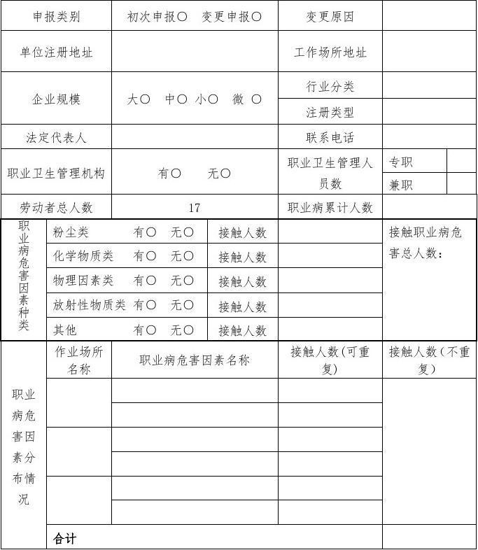 职业病危害项目申报表—空白表格