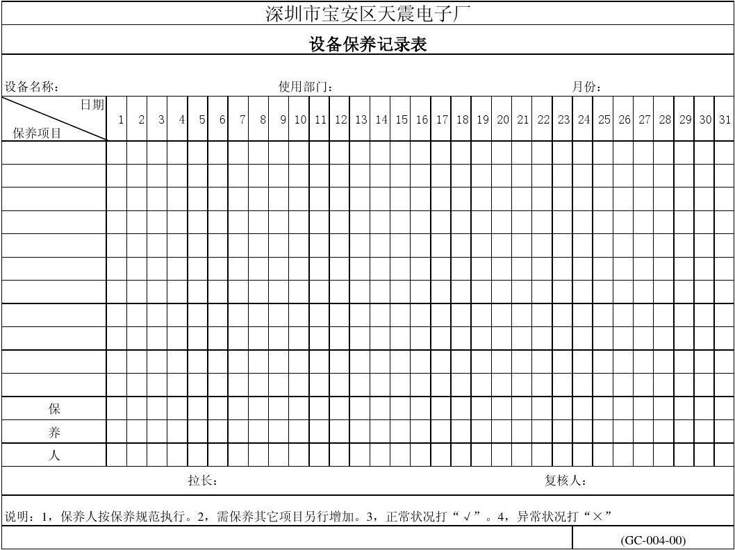 (填)设备保养记录表 A-GC-04
