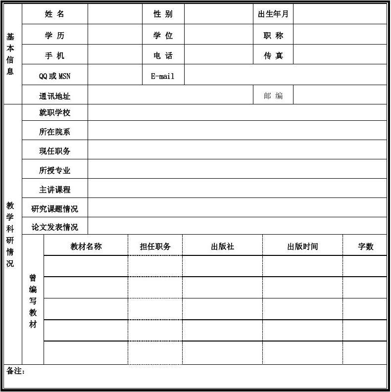 标准个人简历表格 word个人简历模板下载 教师个人简历范文 个人简历图片