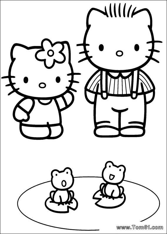 儿童填色 kitty猫大全精校版图片