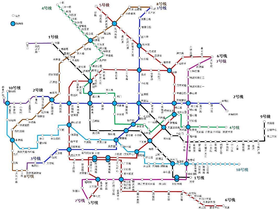 天津地铁最新线路图