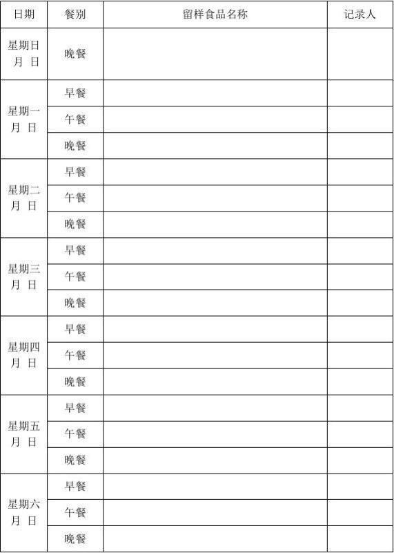 食堂食品留样记录表