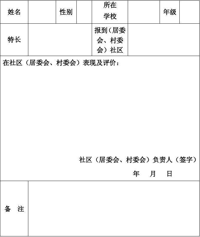 未成年人假期回社区(居委会、村委会)报到考评表