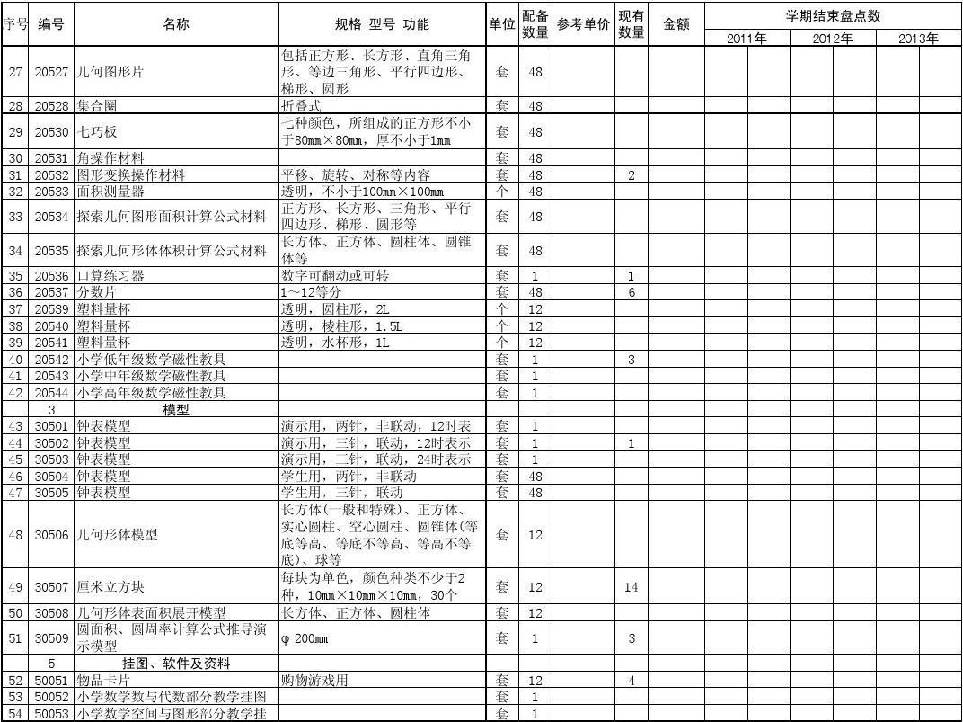 江西省小学科学数学教学仪器配备教具_word文识字标准小学图片
