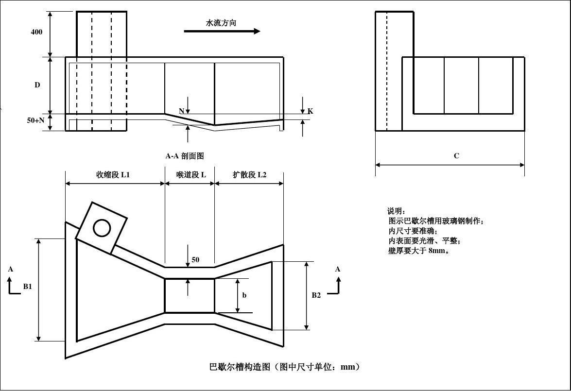 巴歇尔槽 无喉道槽构造图