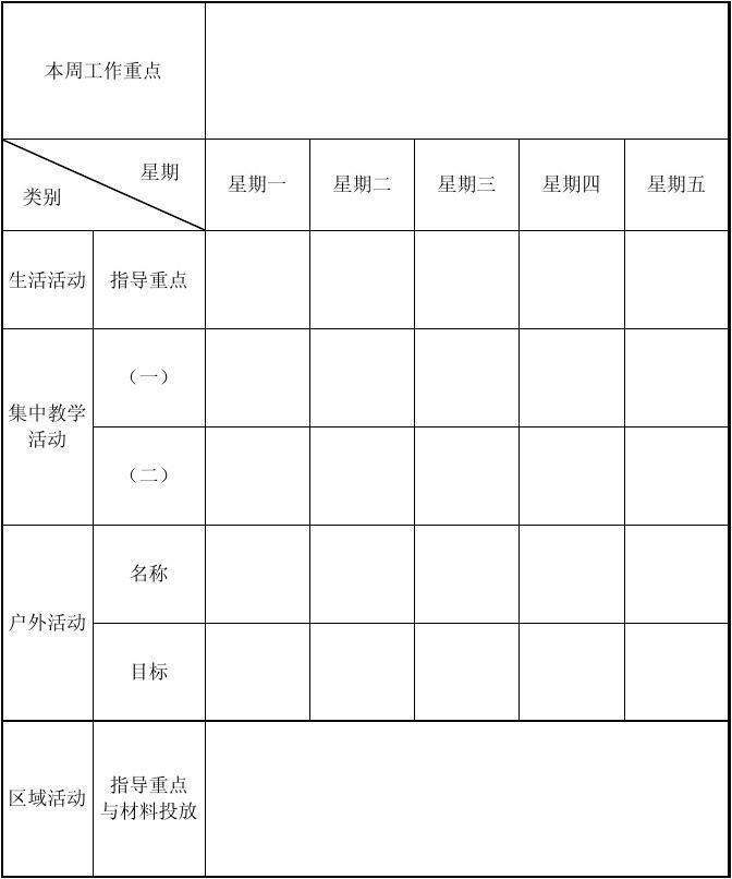 幼儿园周计划装饰_幼儿园班级周工作计划表_word文档在线阅读与下载_文档网