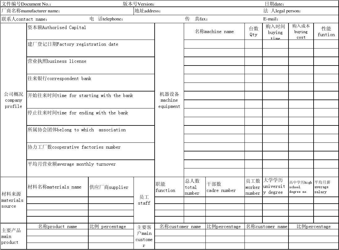 廠商 基本 資料 表 英文 版