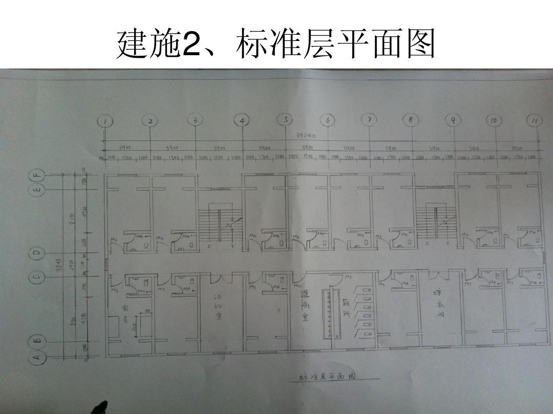 房屋建筑学课程设计(四层宿舍楼设计图2900平米)ppt图片