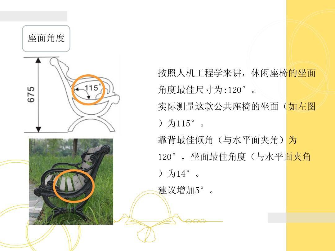 人文社科 设计/艺术 校园里的不合理设计ppt  座面角度 按照人机工程图片