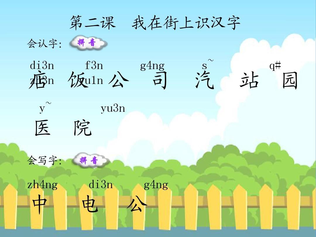 语文S版小学一年级语文上册《我在街上识汉字》生字词学习PPT
