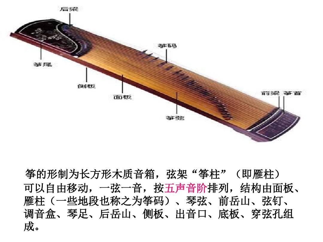 结构由面板, 雁柱(一些地段也称之为筝码),琴弦,前岳山,弦钉, 调音盒图片